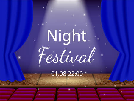 Vector illustrationl. Empty theater stage and opened curtains. Auditorium with empty seats. Night show.