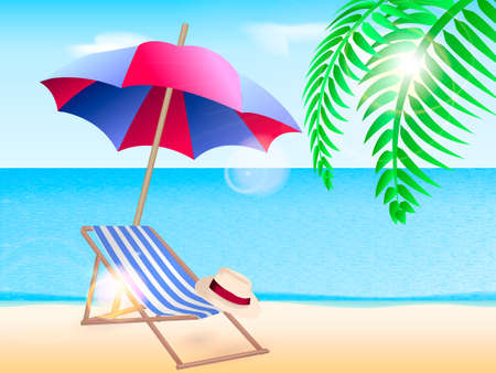 Chaise longue with a beach umbrella on the coast. Vector illustration