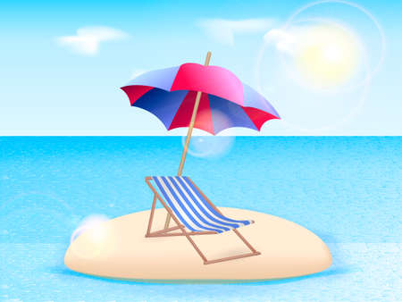 Chaise longue with a beach umbrella on the island. Vector illustration Illustration