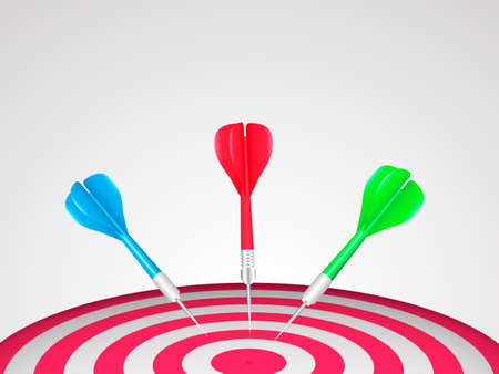 Red darts with blue, green and red javelin. Target concept. Vector illustration.