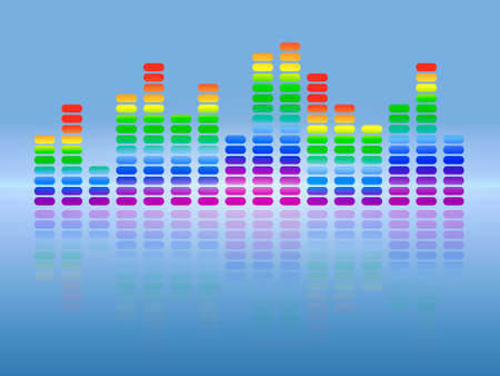 Music rainbow equalizer with reflection. Vector illustration.