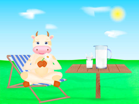 Happy cartoon cow sitting on the chaise-longue. Wooden table with Milk. Vector illustration