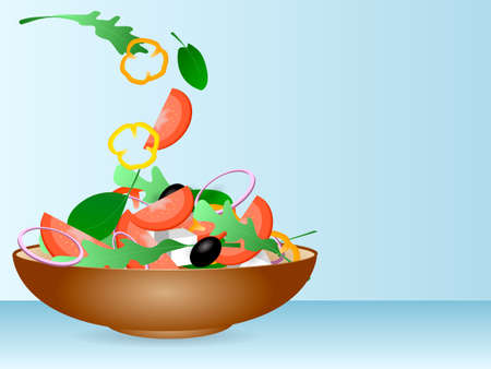 Brown bowl full of vegetarian salad with rucola, black olives, pepper, tomato and cheese standing on a table. Vector illustration