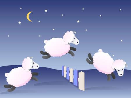 Moutons blancs sautant par-dessus la clôture la nuit. Illustration vectorielle