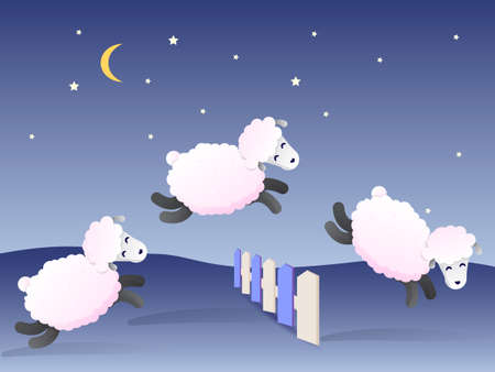 White sheepsjumping over the fence at night. Vector illustration