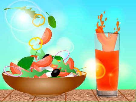 Brown bowl full of vegetarian salad with rucola, black olives, pepper, tomato and cheese standing on a wooden table. Orange juice in a glass. Vector illustration
