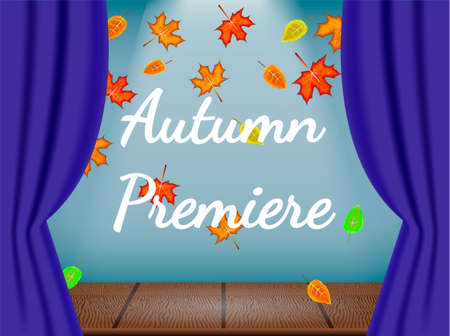 Opened blue curtains on the theatre stage with autumn deciduous. Autumn premiere. Vector illustration.