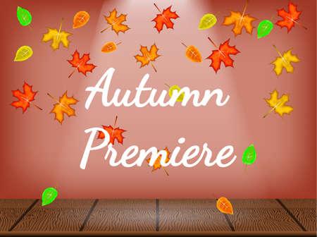 Theatre stage with autumn deciduous. Autumn premiere. Vector illustration.