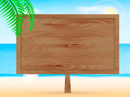 Sea beach. Wooden billboard. Space for text. Vector illustration Illustration