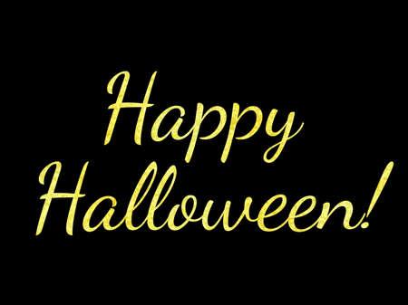 Vector illustration. Golden glitter effect. Happy Halloween.