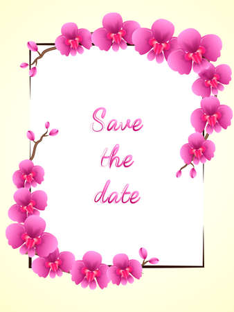 Two branches of pink orchid flowers. Frame. Space for text. Vector illustration Illustration