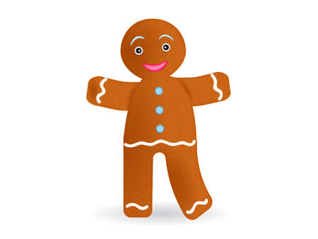 Cartoon gingerbread man isolated on white background. Vector illustration