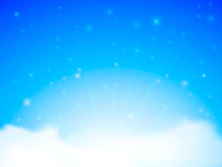 Clean blue sky with clouds. Vector Illustration Stock Illustratie