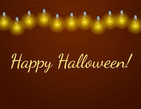 A lot of electric bulbs on purple background. Inscription Happy Halloween. Vector illustration Illustration