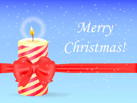 Christmas candle tied with ribbon on snowy baackground. Vector illustration