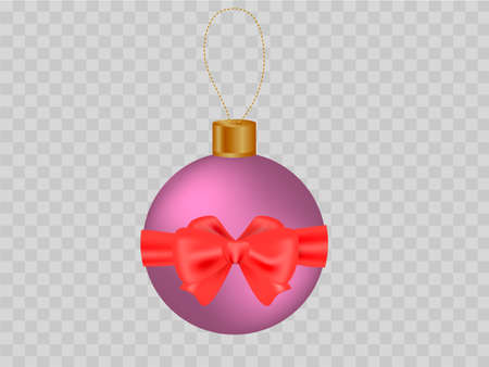 Purple xmas ball with a red bow on transparent background Vector illustration