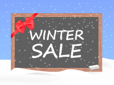 Wooden slate with inscription Winter sale. Vector illustration