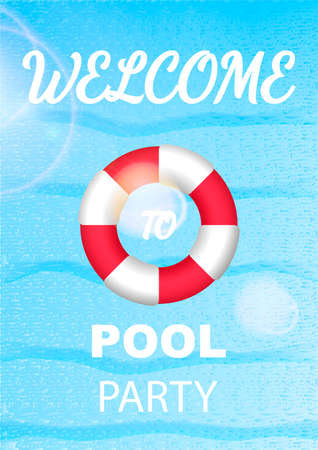 Vertical invitation on pool party with water and Lifebuoy. Vector illustratio