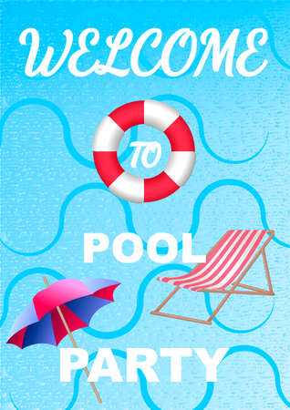Vertical invitation on pool party with water and Lifebuoy. Vector illustration