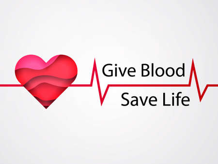 Heart with 3d paper cut effect. Give Blood Save life. Vector illustration