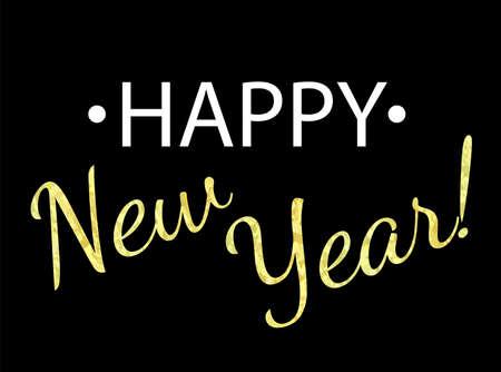 Vector illustration. Golden glitter effect Happy New Year.