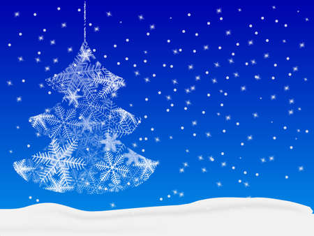Xmas tree made from snowflakes with clipping mask. Vector illustration Ilustracja