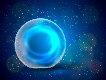 Magic ball with sparkles on blue background. Vector illustration Ilustracja