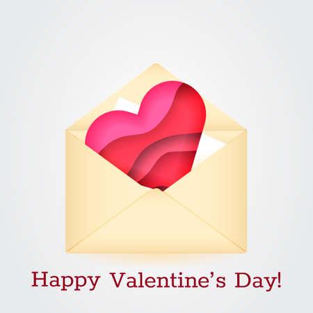 Beige envelope with 3d paper cut effect heart. Declaration of love concept. Vector illustration Vektorové ilustrace