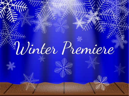 Theatre stage with snowflakes. Winter premiere. Vector illustration.