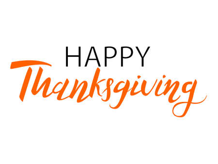 Lettering Happy Thanksgiving. Vector illustration