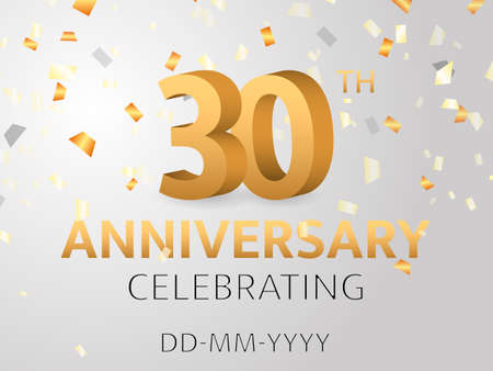 Thirtieth Anniversary with confetti. Vector illustration 矢量图像