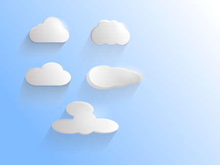 Five cartoon clouds on a blue sky. Vector illustration
