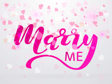 Confetti in the form of hearts. Marry me lettering. Vector illustration