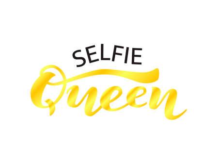 Selfie Queen lettering. Vector illustration