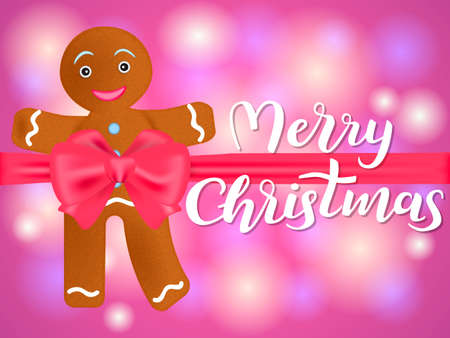 Cartoon gingerbread man knotted by red bow. Merry Christmas lettering. Vector illustration Illustration