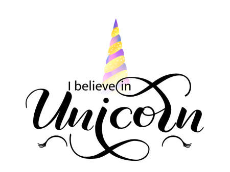 I believe in Unicorn lettering. Vector illustration  イラスト・ベクター素材