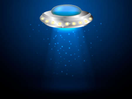 Flying saucer with ray of light. Vector illustration. Illustration
