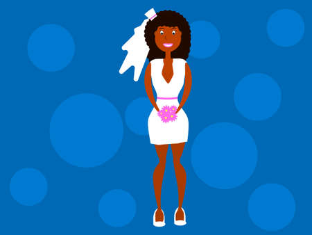 African-American woman in a short wedding dress with a veil. Flat style. Vector illustration