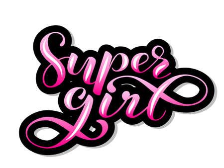 Super girl lettering sticker for clothes, poster or postcard. Vector illustration