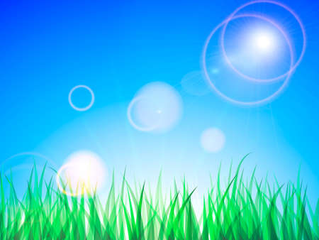 Clean blue sky with green grass. Vector Illustration for poster