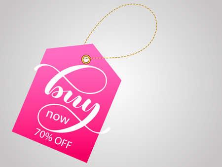 Buy Now lettering Pink Label. Vector Illustration Illusztráció