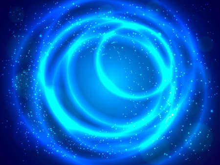 Circular blue background with sparkles. Vector illustration Çizim