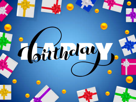 Happy birthday lettering. Congratulatory  quote for banner or postcard. Vector illustration Ilustrace
