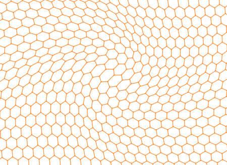 Honeycomb orange wavy background. Vector illustration. Illustration