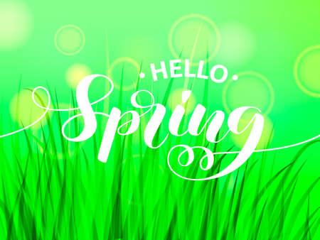Hello spring letering with green grass. Vector illustration Illustration