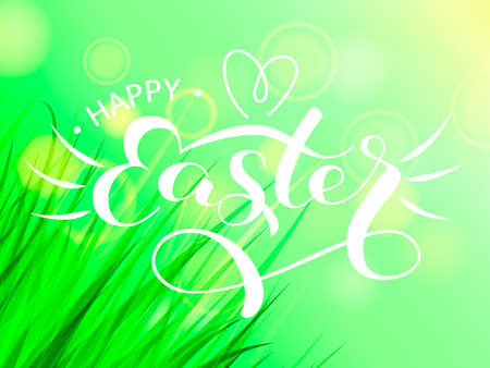 Happy Easter letering with green grass. Vector illustration for card 向量圖像