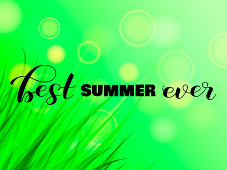 Best summer ever letering with green grass. Vector illustration