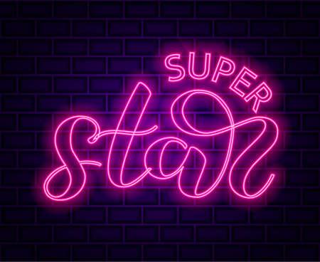 Brick background. Super Star lettering. Vector illustration.