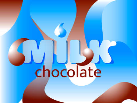 Milk lettering with abstract blue and white waves. Vector illustration.
