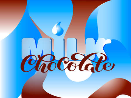 Milk chocolate lettering with abstract blue and white waves. Vector illustration.